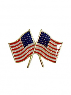 Anstecker Pin Doppel Flagge USA