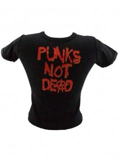 Kinder T-Shirt Punks not dead schwarz rot