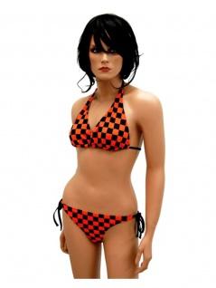 Bikini schwarz orange kariert
