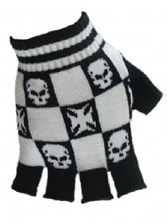 Fingerlose Handschuhe Eisernes Kreuz Totenkopf