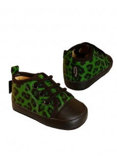 Babyschuhe Leopard grün