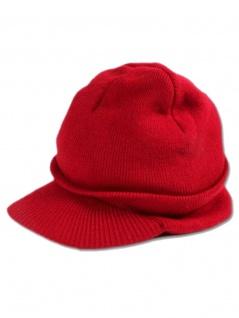 Beanie Strickmütze rot mit Schirm