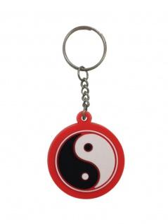 Schlüsselanhänger Yin Yang Schwarz Weiß Rot aus Gummi
