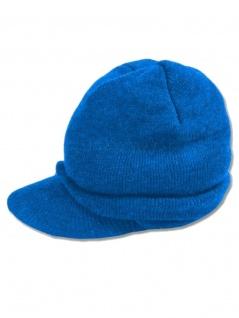 Beanie Strickmütze blau mit Schirm
