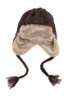 Tschapka Wintermütze mit Kunstfell braun