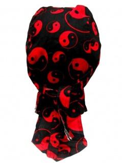 Bandana Cap Yin Yang rot schwarz
