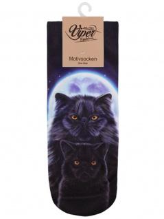 Sneaker Socken bedruckt 2 schwarze Katzen