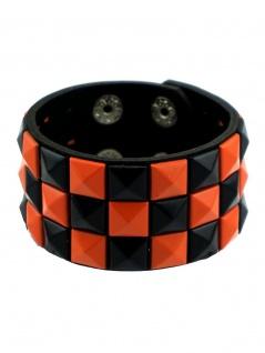 Kunstleder Armband Pyramiden Nieten schwarz orange