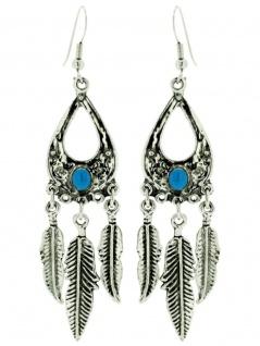 Ohrring Indianerfeder mit Stein blau groß