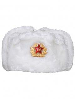 Russische Wintermütze weiß mit Abzeichen