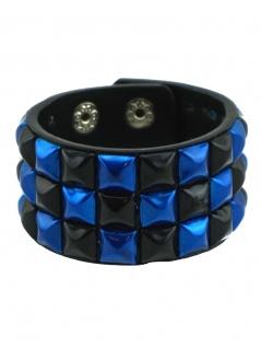 Kunstleder Armband Pyramiden Nieten schwarz blau