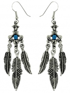 Ohrring Indianerfedern mit Stein blau