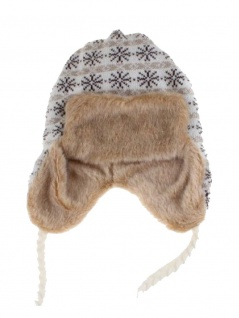 Tschapka Wintermütze mit Kunstfell Schneeflocken