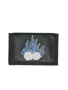 Geldbeutel mit Kette brennende Würfel
