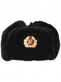 Russische Wintermütze schwarz mit Abzeichen
