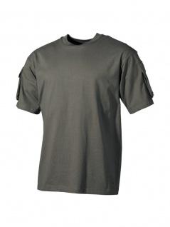 US Militär T-Shirt oliv mit Ärmeltaschen