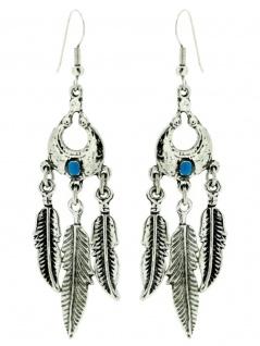 Ohrring Indianerfeder mit Stein blau klein