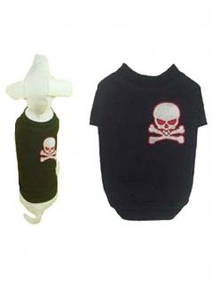 Hunde T-Shirt schwarz mit Totenkopf