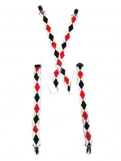 Hosenträger Karo schwarz rot weiß