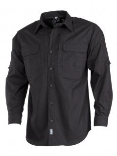 Taktisches Langarmhemd schwarz Rip Stop Teflon