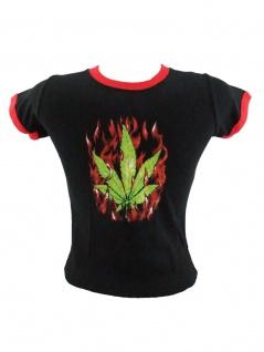 Kinder T-Shirt Hanfblatt schwarz