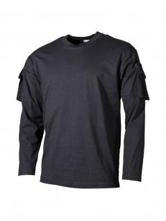 US Army Longsleeve Shirt schwarz mit Ärmeltaschen