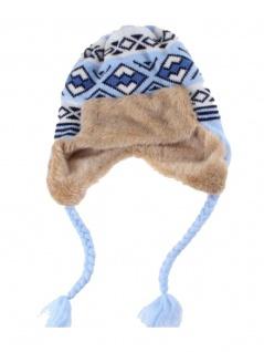 Tschapka Wintermütze mit Kunstfell hellblau