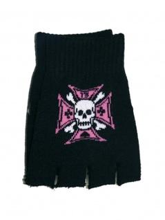 Fingerlose Handschuhe Kreuz pink