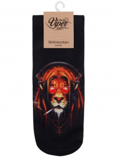 Sneaker Socken bedruckt rauchender Löwe