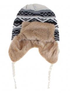 Tschapka Wintermütze mit Kunstfell grau weiß