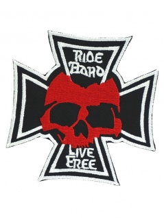 Aufnäher Skull Kreuz rot