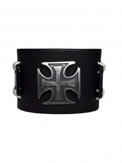 Kunstleder Armband Eisernes Kreuz schwarz
