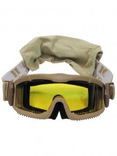 Deluxe Schutzbrille Airsoft beige mit 2 Ersatzgläser