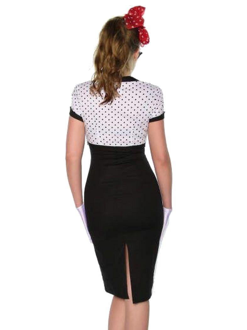 Rockabilly Pin-Up Vintage-Kleid schwarz weiß mit Punkten ...