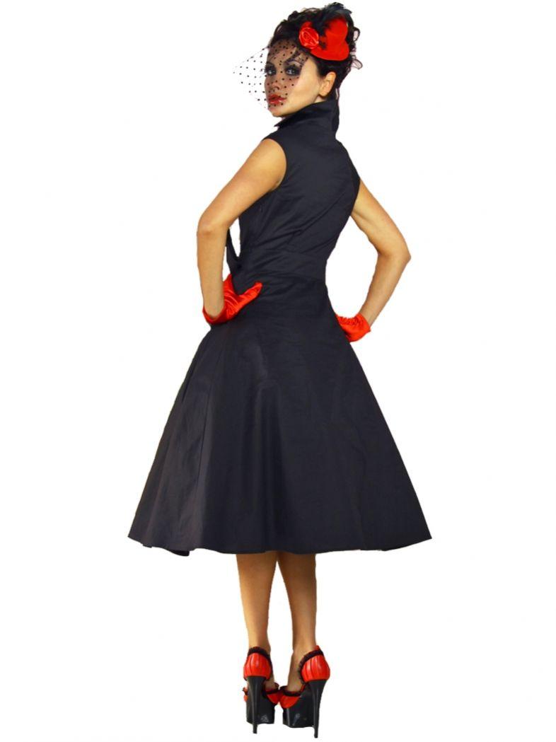 12c2789080fe Petticoat Rockabilly Kleid schwarz mit Kragen