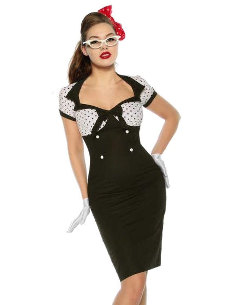 Rockabilly Pin Up Vintage Kleid schwarz weiß mit Punkten   Kaufen ...