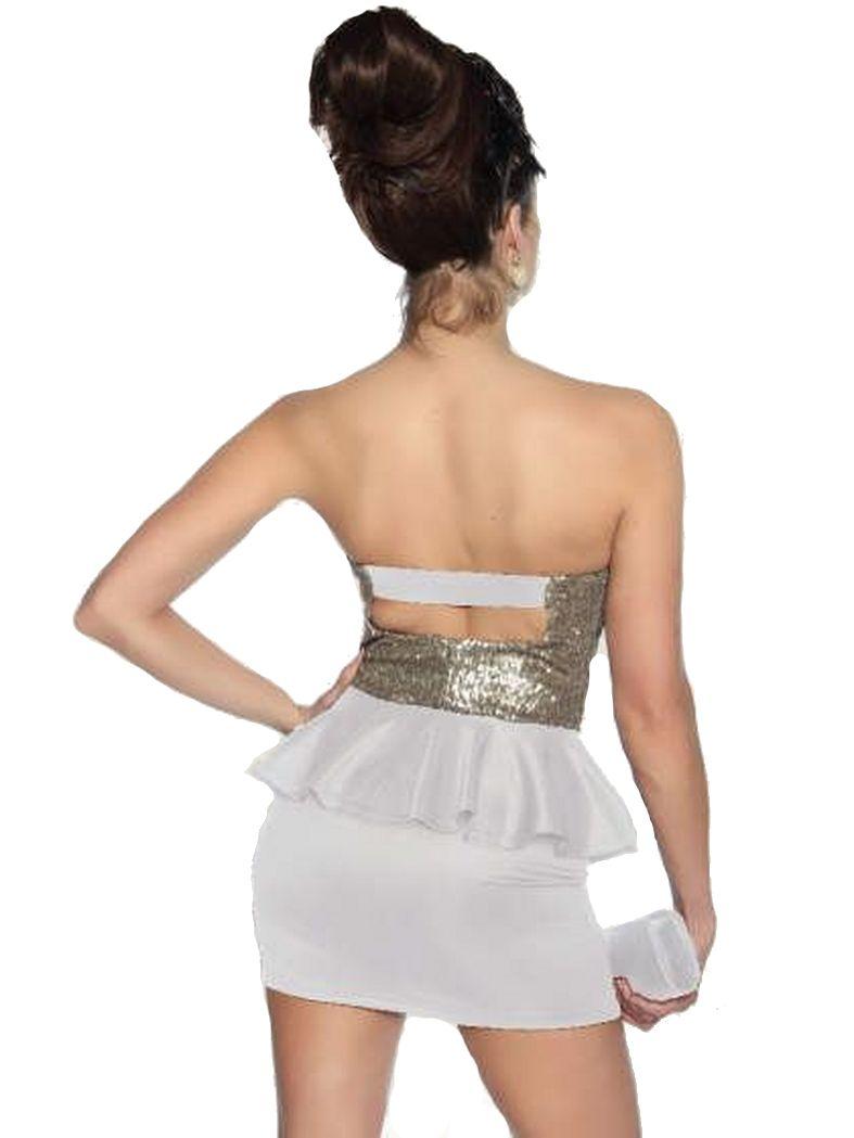 Bandeau Mini Kleid weiß gold mit Rockteil und Pailletten ...