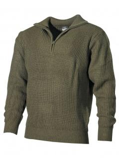 Isländer Pullover oliv mit Reißverschluss
