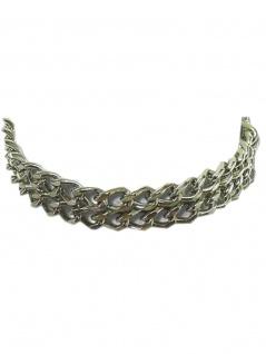 Leder Halsband 2 reihige Kette