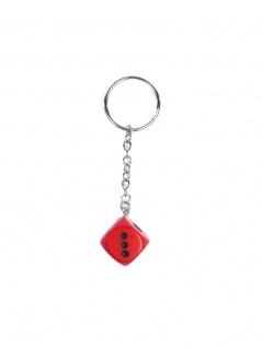 Schlüsselanhänger roter Würfel schwarze Punkte