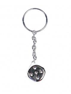 Schlüsselanhänger silberner Würfel mit Punkte
