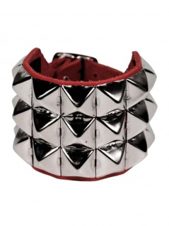 Leder Armband Pyramiden Nieten 3 reihig rot