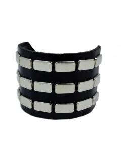 Leder Armband Flach Nieten 3 reihig