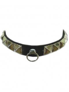 Leder Halsband Pyramidennieten mit Ring