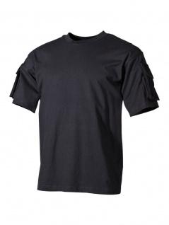 US Militär T-Shirt schwarz mit Ärmeltaschen