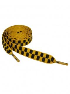 Schnürsenkel schwarz gelb kariert schmal