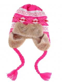 Tschapka Wintermütze mit Kunstfell rosa