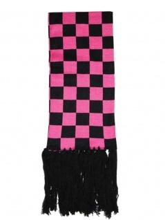 Winterschal schwarz pink kariert