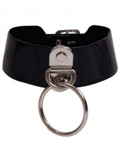 Lack Leder Choker Halsband breit mit Ring