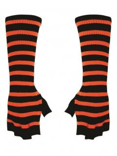 Fingerlose Stulpenhandschuhe schwarz orange gestreift